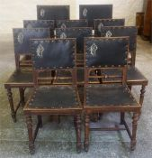 A Set Of Ten Late Victorian Mahogany Dining Chairs, including two carvers, with painted initials
