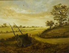 "British School ""Wheelbarrow"" Oil On Board, unsigned, 36.5 x 49.5cm, framed"