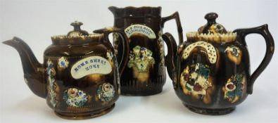 "Three Pieces Of Barge Ware Pottery, comprising of a teapot named ""Home Sweet Home"", a jug named MRS."