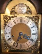 A Mahogany Cased Grandmother Clock By Tempus Fugit, with a silvered and gilded dial, with Roman