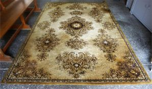A Kashmir Machine Made Rug, Decorated with floral medallions on a gold coloured ground, 291 x 200cm