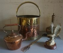 A Small Mixed Lot Of Brass & Copper Wares, to include a brass coal depot with swing handle, copper