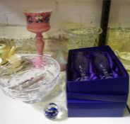 A Small Quantity Of Crystal & Glass, to include a Victorian pink opaque glass Girondel with glass