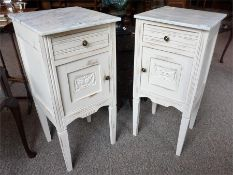 A Pair Of French Painted Bedside Cupboards With Marble Tops