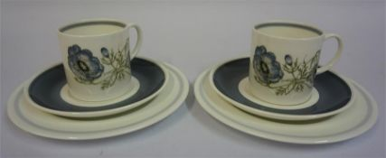 A Susie Cooper For Wedgwood Eight Piece Coffee Set, to include side plates, saucers, cups and