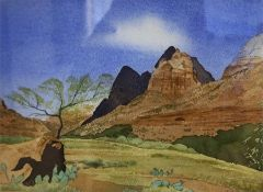 "Christopher Carter ""Zion Canyon Utah"" Watercolour, 17.5 x 25.5cm, signed and dated 99 to bottom"