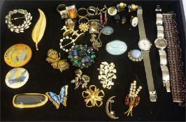 A Collection Of Costume Jewellery, to include a Calvin Klein wristwatch, brooches, cufflinks,