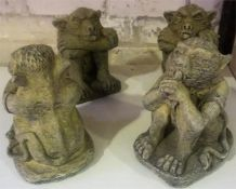 Four Composite Stone Gargoyle Figures, in seated position, 20cm high, (4)
