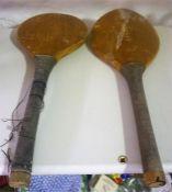 Two Vintage Wooden Sponge Bats, 46cm long
