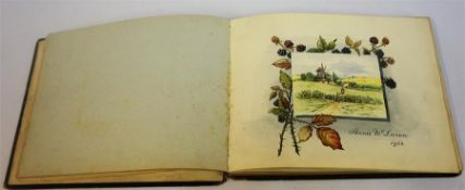An Edwardian Leather Bound Sketch Book, enclosing a watercolour by Annie McLaren dated 1903,