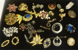 A Collection Of Costume Brooches, to include an unmarked silver and gold brooch, a Cameo brooch,