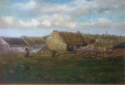 "British School "" Island Village Scene"" Oil On Canvas, unsigned, relined, 49 x 74.5cm, in a"