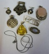A Small Quantity Of Silver Jewellery, Comprising of six assorted pendants and brooches, pair of