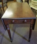 A Victorian Mahogany Pembroke Table, with a drawer to one side and opposing dummy drawer, 67cm high,