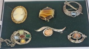 Six Antique Style Costume Brooches, to include an Iona style and Cameo style brooch, also with a