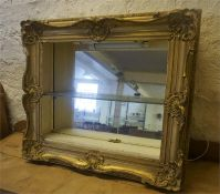 A Converted Giltwood & Painted Wall Hanging Display Cabinet, the front bears an antique picture