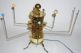 A Replica Gilt Metal Revolving Planet Orrery Clock, in the form of the solar system, fitted for