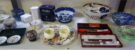 A Quantity Of Pottery & China, to include a Royal Crown Derby cake slice and cake knife, both in