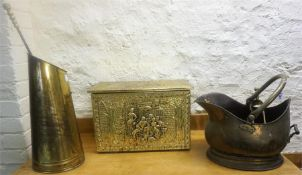A Mixed Lot Of Vintage Brass Wares, to include a brass coal helmet, coal box, fire irons etc, (a