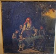 "Continental School ""Mother & Children"" Oil On Panel, signed indistinctly, 30 x 30cm, in a giltwood"