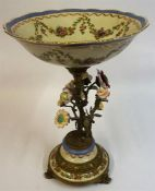 A Victorian Style Continental Ceramic & Gilt Metal Centrepiece, Decorated with encrusted flowers and