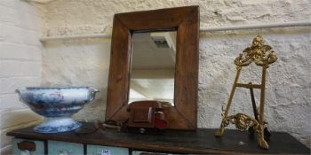 A Mixed Lot Of Collectables, Comprising of a brass easel picture fame, a pine framed wall mirror,
