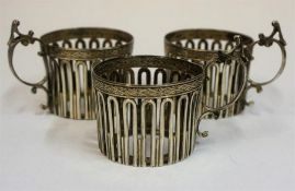 Three Edwardian Silver Cup Holders, Hallmarks for Thomas Latham & Ernest Morton Birmingham 1907,