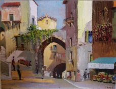 "J. Boyle "" Continental Town Scene"" Oil On Board, 44 x 58cm, signed lower right, framed"