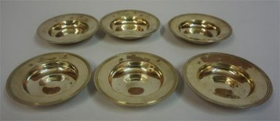A Set Of Six Queen Elizabeth II Silver Circular Pin Dishes, Hallmarks for London, date letter C,