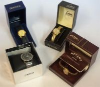 Four Assorted Ladies Wristwatches, to include a Rotary stainless wristwatch with guarantee card, and
