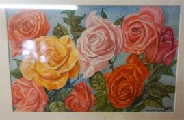 "DM & EM Alderson ""Roses"" ""Still Life"" Watercolour, signed and dated 1984 to lower right, label to"