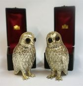 A Pair Of Novelty Silver Plated Pepper Pots, Modelled as owls, with detachable head, stamped to