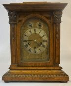 A Large Continental Oak Cased Three Train Bracket Clock, circa 19th century, the glazed door