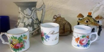 A Mixed Lot Of Victorian Porcelain & Pottery, Comprising of a society of arts prize jug dated