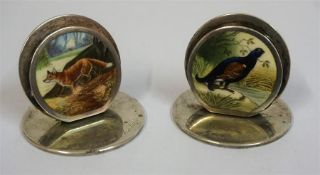 A Pair Of Edwardian Silver & Enamel Menu/Card Holders, Probably by Morden & Co Chester, Chester