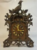 A Large Black Forest Cuckoo Twin Train Bracket Clock, circa 19th century, with a carved cuckoo