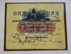 A Replica One Pound Bank Note By The North Of Scotland Bank Limited, dated May 1906, 13 x 15.5cm,