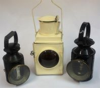 Of Railway Interest, Three Railway Lamps, of various sizes, one painted in white, two stamped for