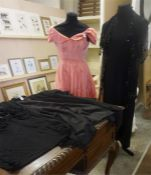 A Small Quantity Of Vintage Clothing, to include a pink ball gown, 142cm long, A Ladies black jacket