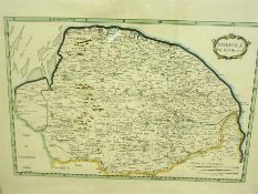 "Robert Morden (1650-1703) ""Norfolk"" Hand Coloured Map Engraving, 23 x 37cm in a walnut frame,"