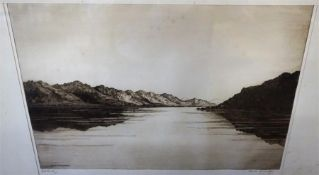 "Jmes MacIntyre "" Lough Juich"" Original Drypoint, signed in pencil lower right, 25 x 38cm, label to"