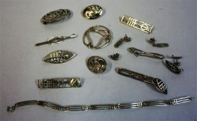 A Collection Of Modern Charles Rennie Mackintosh Silver Jewellery, to include brooches, bracelet,
