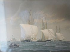 "Fred S Cozzens ""Sailing Boats At Sea"" Print, 36 x 51cm, in a Victorian rosewood frame"