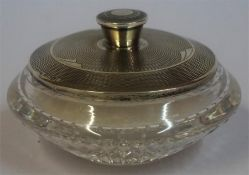 An Art Deco Silver Lidded & Crystal Powder Jar, Hallmarks for Birmingham 1935, makers marks