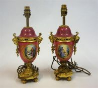 A Pair Of Sevres Porcelain & Ormolu Table Lamps, 19th century, probably converted from a