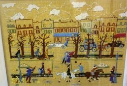 A Hand Woven Panel Of A Borders Town, 45 x 62cm, framed