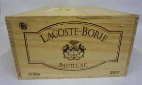 A Case of Twelve Bottles Of Lacoste-Borie 2011 Pauillac, box sealed