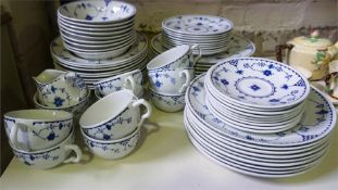 """A Part China """"Danish"""" Design Dinner Set By Johnson Bros, to include plates, bowls, cups etc, 64"""