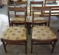 A Set Of Four Regency Style Mahogany Bar Back Dining Chairs, old worm to underside on all chairs,
