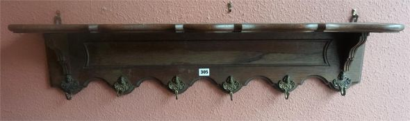 A French Oak Wall Mounting Hat & Coat Rack, with six metal pegs, 20cm high, 101cm wide, 19cm deep